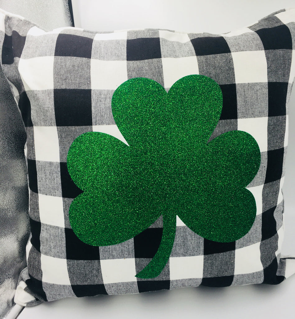 Buffalo Plaid Shamrock Decorative Pillow Cover