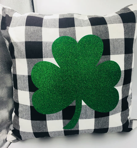 Buffalo Check  Shamrock Decorative Pillow (Includes Insert)
