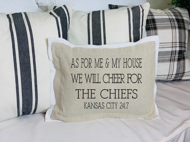 As for Me & My House We will Cheer for... Brown Pillow on couch