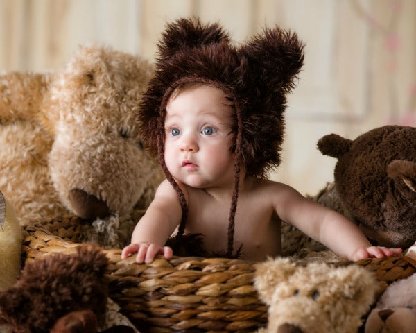Dakota Dark Brown Baby Hat for newborn photoshoot