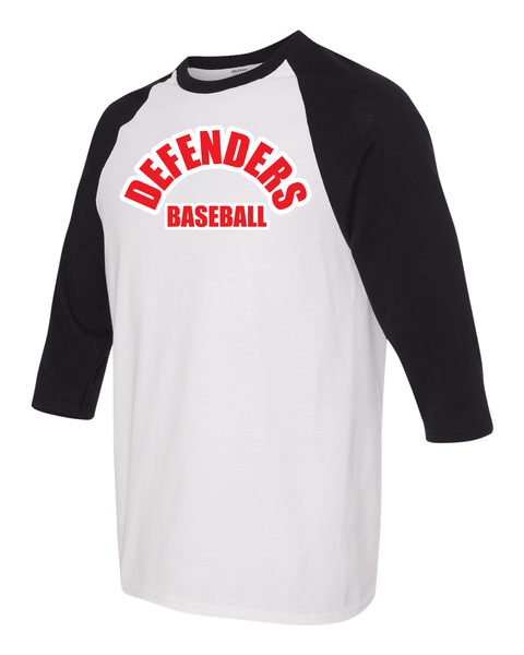 Defenders Baseball Spirit Wear-Gildan - Youth Heavy Cotton Three-Quarter Raglan Sleeve Baseball T-Shirt