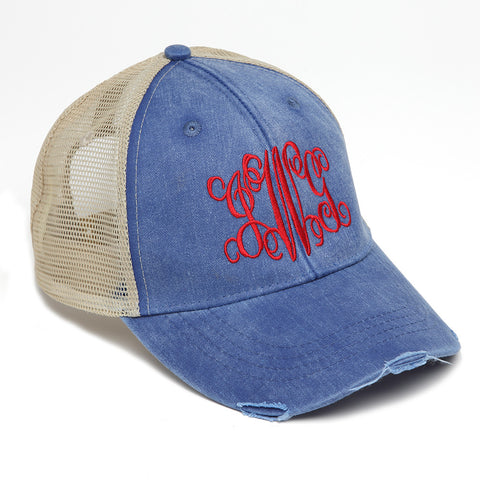 Distressed Baseball Cap in Royal Blue and Tan