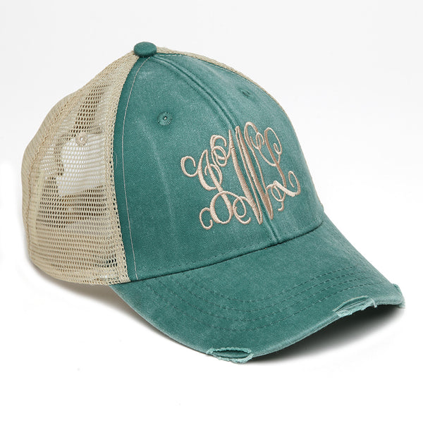Distressed Baseball Cap in Green with Tan