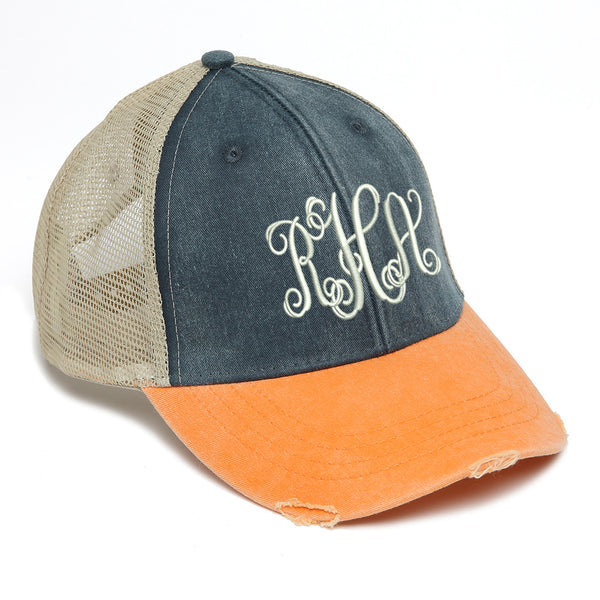 Distressed Baseball Cap in Navy and Orange