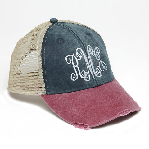 Distressed Baseball Cap in Navy and Red