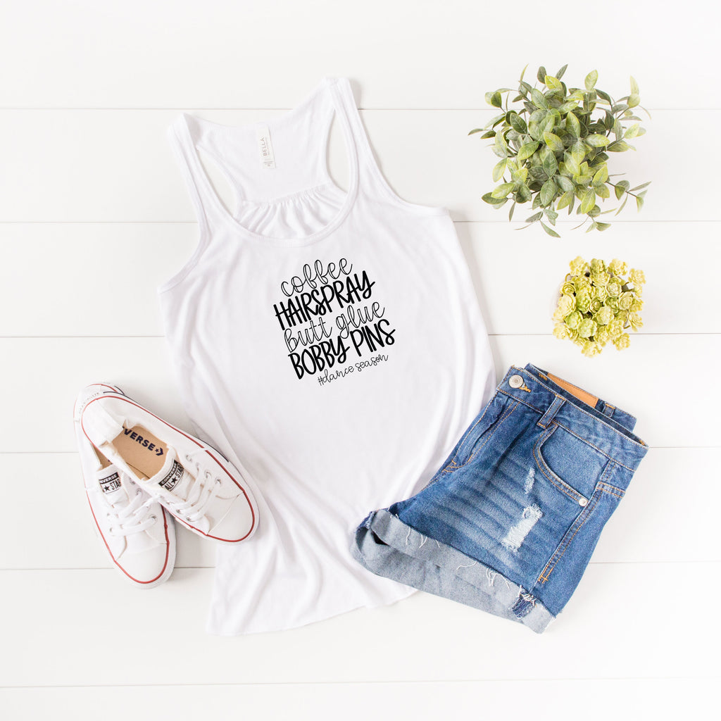 Dance Words- # Dance Season Bella Canvas Flowy Racer Back Tank
