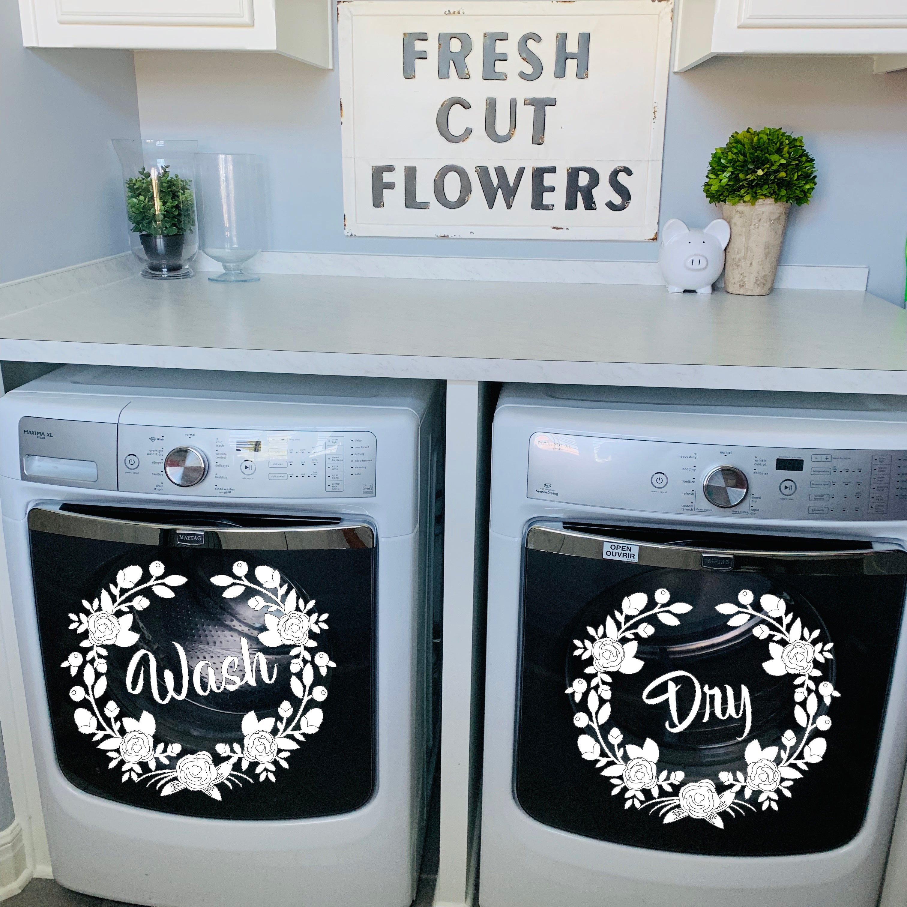 Laundry Room Decor Washer And Dryer Decals Floral Wreath Wash Dry