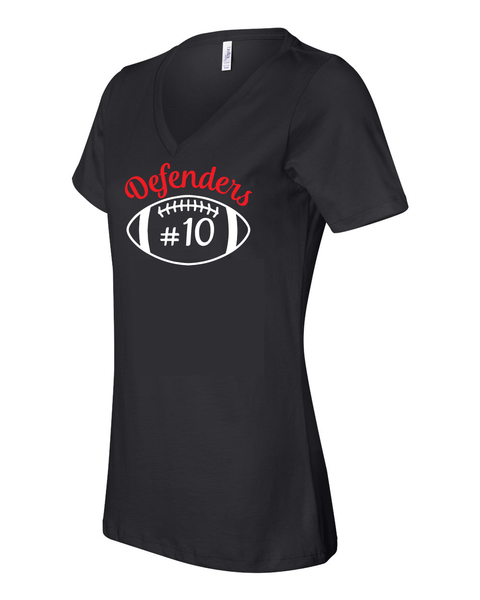 Defenders Football Helmet with Number Spirit Wear T-Shirt -Bella Canvas Women's V-Neck