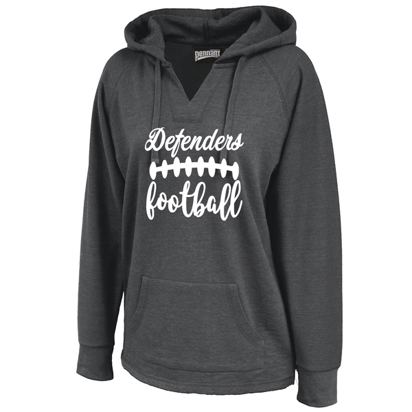 Defenders Football with Laces Spirit Wear Sweatshirt -Pennant Sportswear Women's Volley Hoodie Black
