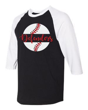 Defenders Baseball New 2019 Spirit Wear-Gildan - Heavy Cotton Three-Quarter Raglan Sleeve Baseball T-Shirt