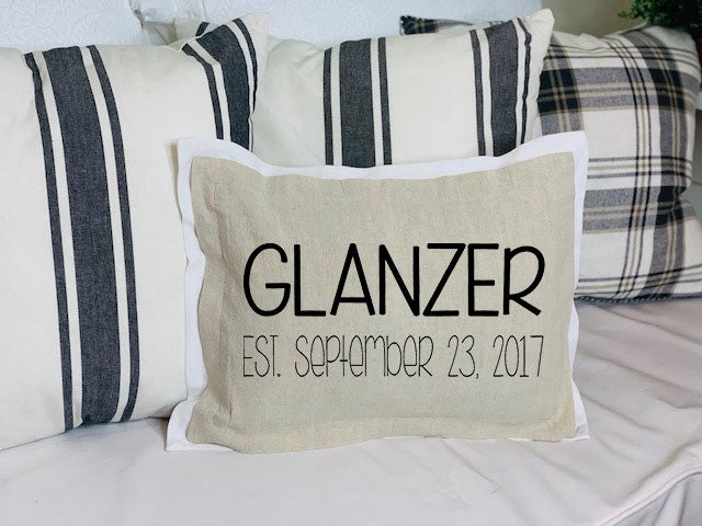 Tan pillow front with wedding date