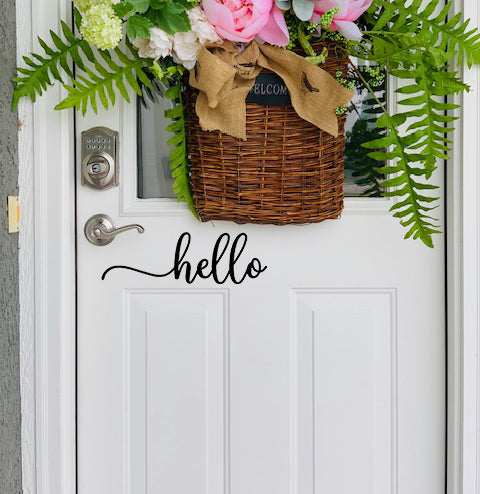 Hello Door Decal | Door Decal | Farmhouse Door Decal | Vinyl Lettering | Hello Decal
