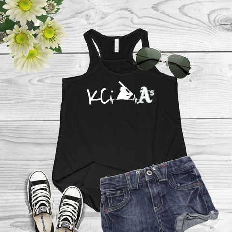 Kansas City A's Heart Beat of Baseball-Bella Canvas Flowy Racerback Tank for Women