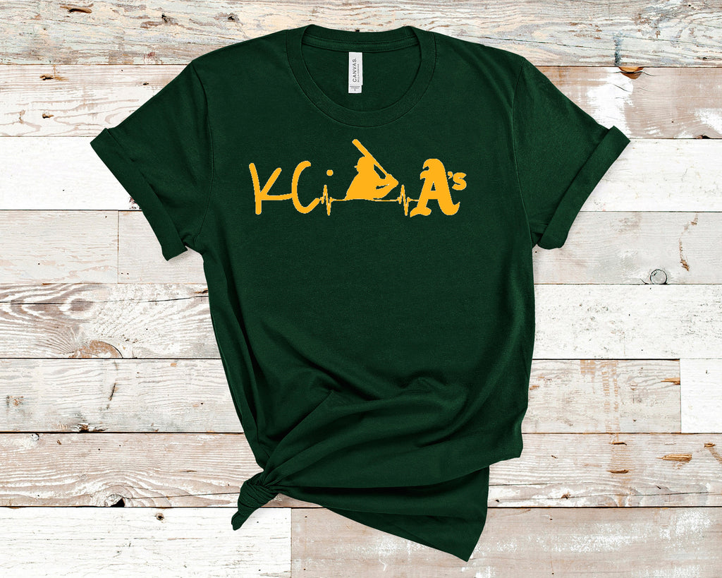 KC A's Heartbeat of Baseball Uni-sex Short Sleeve t-shirt, Spirit Wear