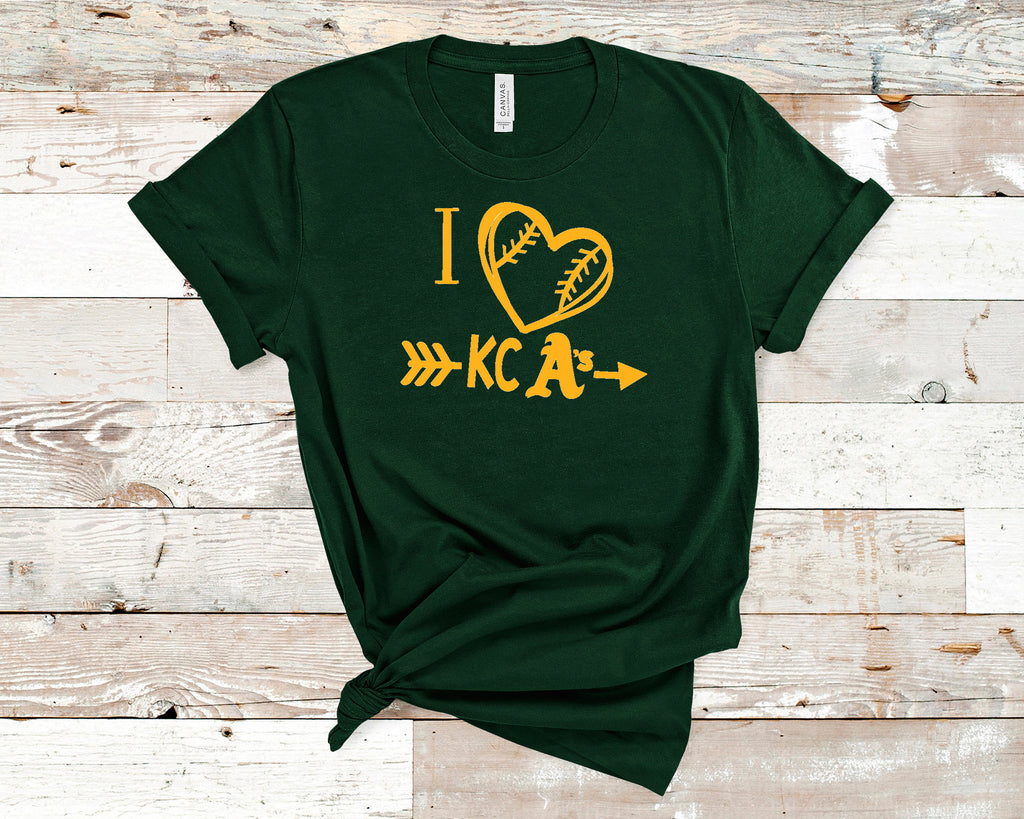 I Heart KC A's Baseball Uni-sex Short Sleeve t-shirt, Spirit Wear