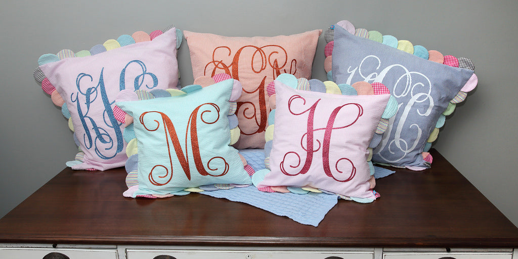 Peppermint Twist Seersucker monogrammed pillow collection