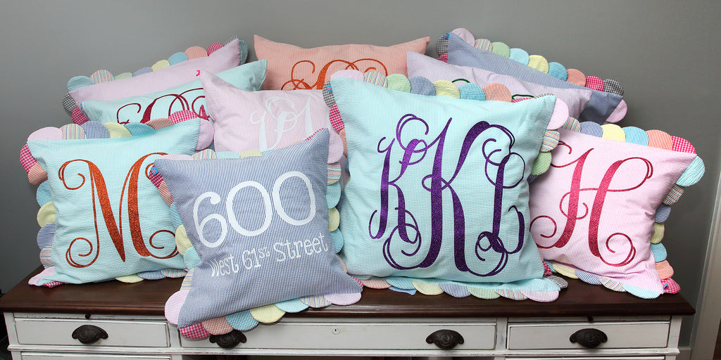 Seersucker Monogrammed Pillow collection from Peppermint Twist