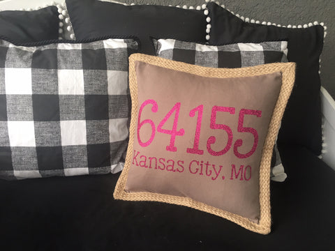 Zip Code Pillow Cover with Zip Code and City in Brown