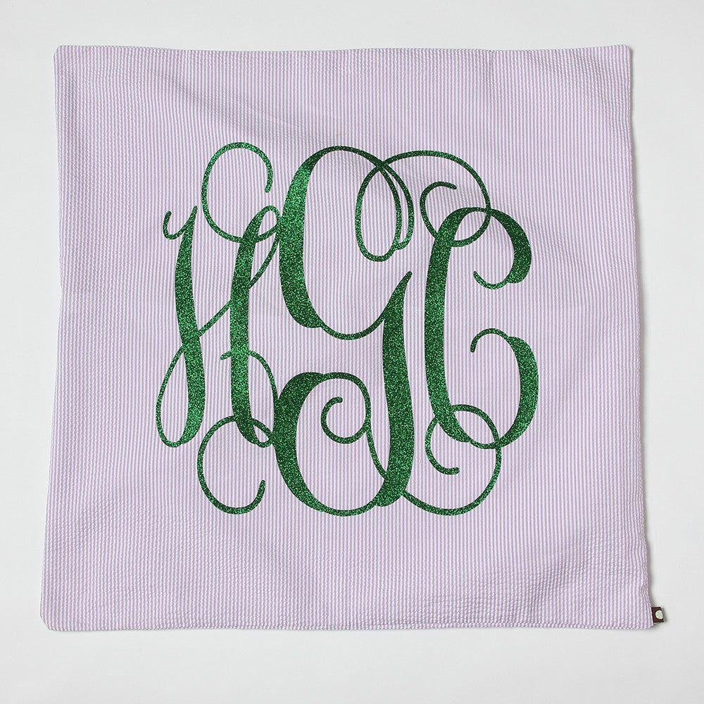 Lilac Seersucker Monogrammed Euro Sham Pillow with green letters