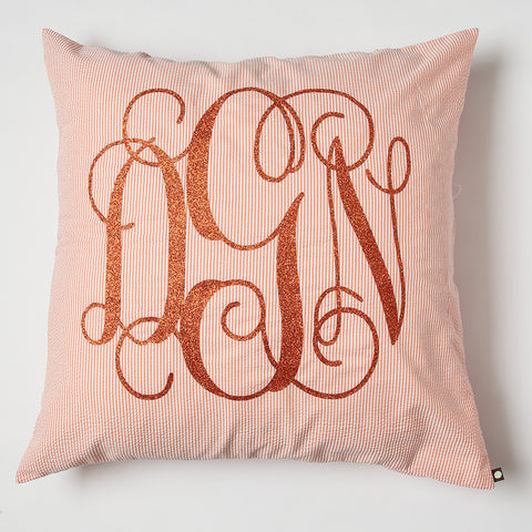 Orange Seersucker Monogrammed Euro Sham Pillow
