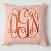 Orange and White Seersucker Monogrammed Pillow
