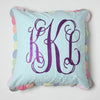 Scalloped Edge Seersucker Monogrammed Pillow with Purple glitter