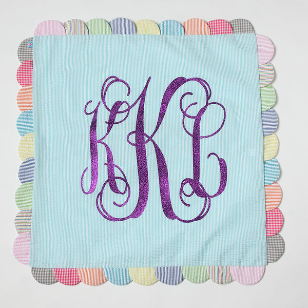 Seersucker scalloped pillow with monogram