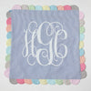 Blue and White Seersucker Monogrammed pillow
