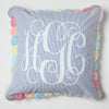 Seersucker Pillow Blue and White with Monogram
