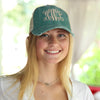 Distressed Baseball Cap in Green with Tan on model