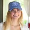 Royal Blue distressed baseball cap on model