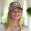 Distressed Baseball Cap in Brown with Tan with white thread