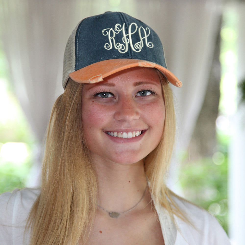 Distressed Baseball Cap in Navy and Orange on model