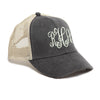 Distressed Baseball Cap in Black and Tan