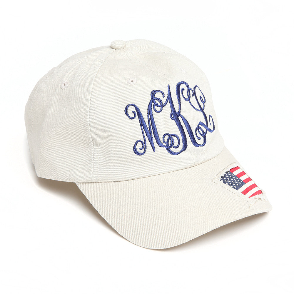 monogrammed flag hat -natural color