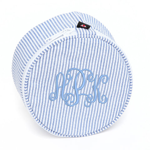 Monogram Blue and White Seersucker Button Jewelry Holder