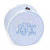 Blue and white seersucker monogrammed pouch