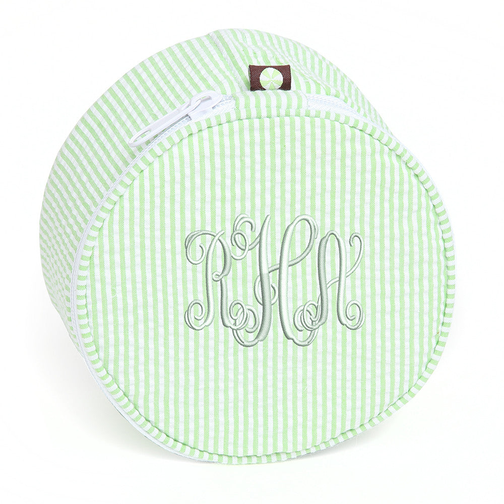 Green and White Seersucker Jewelry Pouch