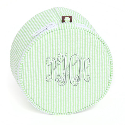 Monogram Green and White Seersucker Button Jewelry Holder