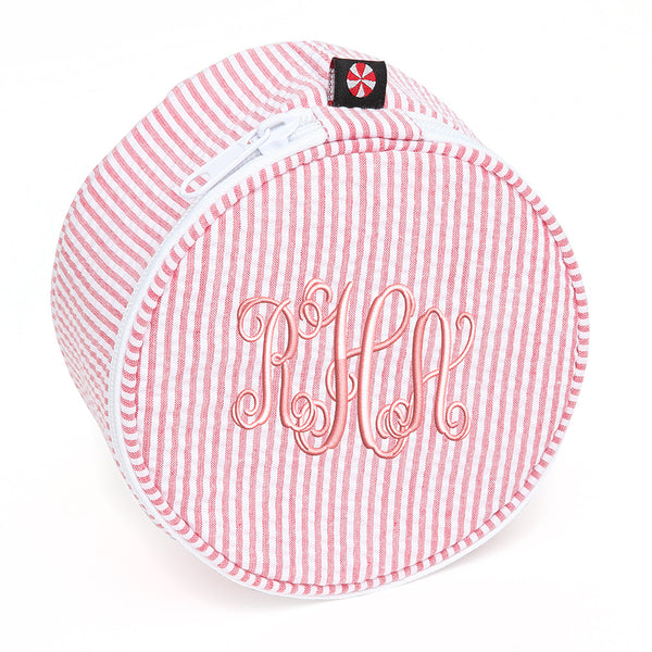 Red and White Seersucker Monogram Pouch