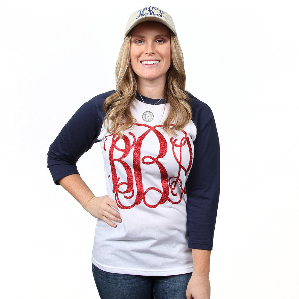 Raglan Monogrammed Baseball Tee on Model