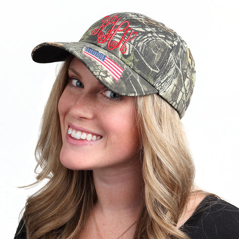 Camouflage Monogram Baseball Hat with Woven Flag Accent