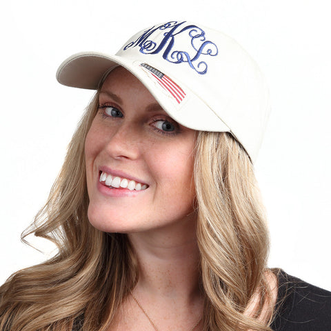 Natural Monogram Baseball Hat with Woven Flag Accent