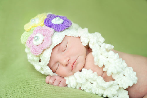 Josephine Newborn Hat in Cream