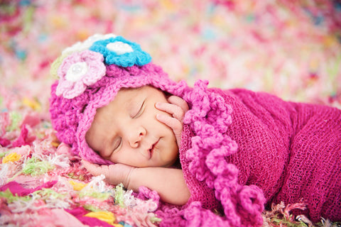 Josephine NewBorn Hat for Newborn Photoshoot-Crochet Hot Pink