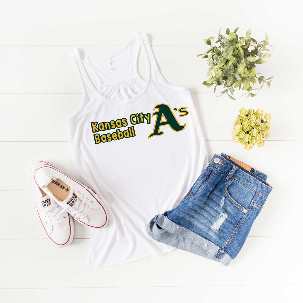 Kansas City A's Baseball-Bella Canvas Flowy Racerback Tank For Women