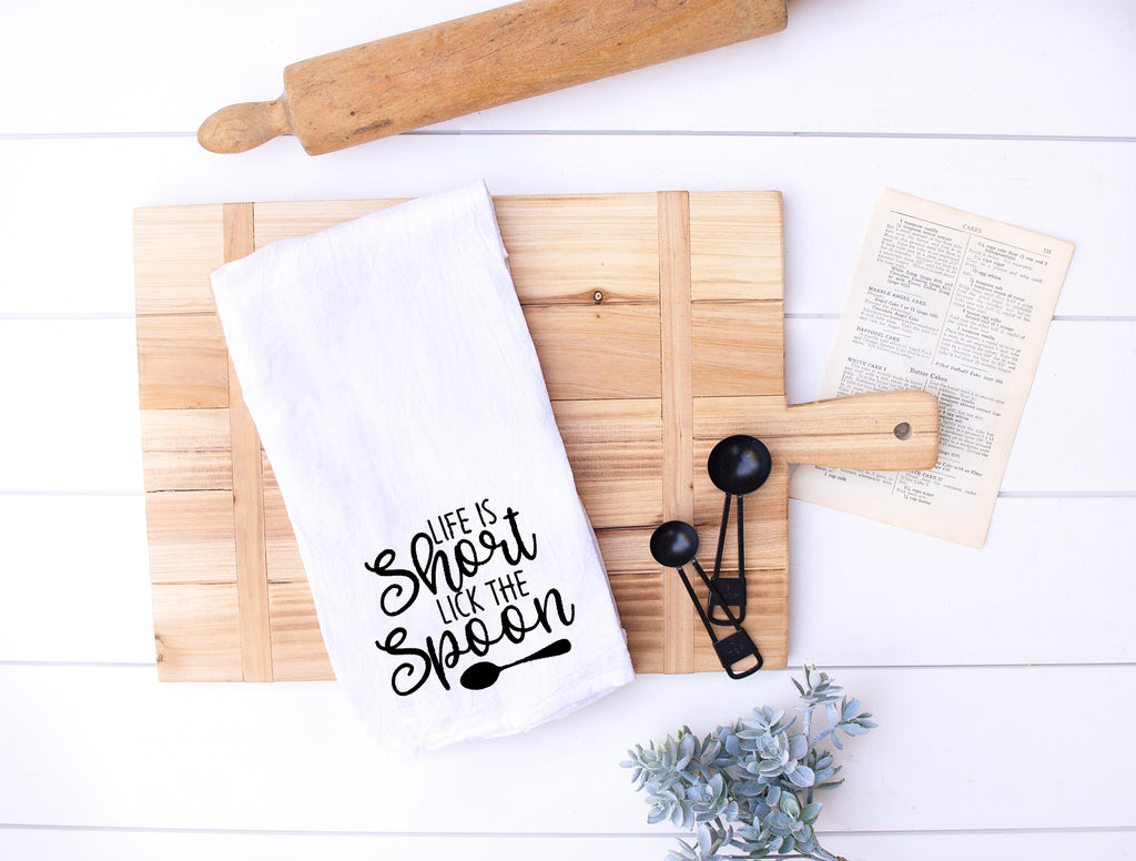 Life Is Short...Lick The Spoon Flour Sack Kitchen Hand Towels
