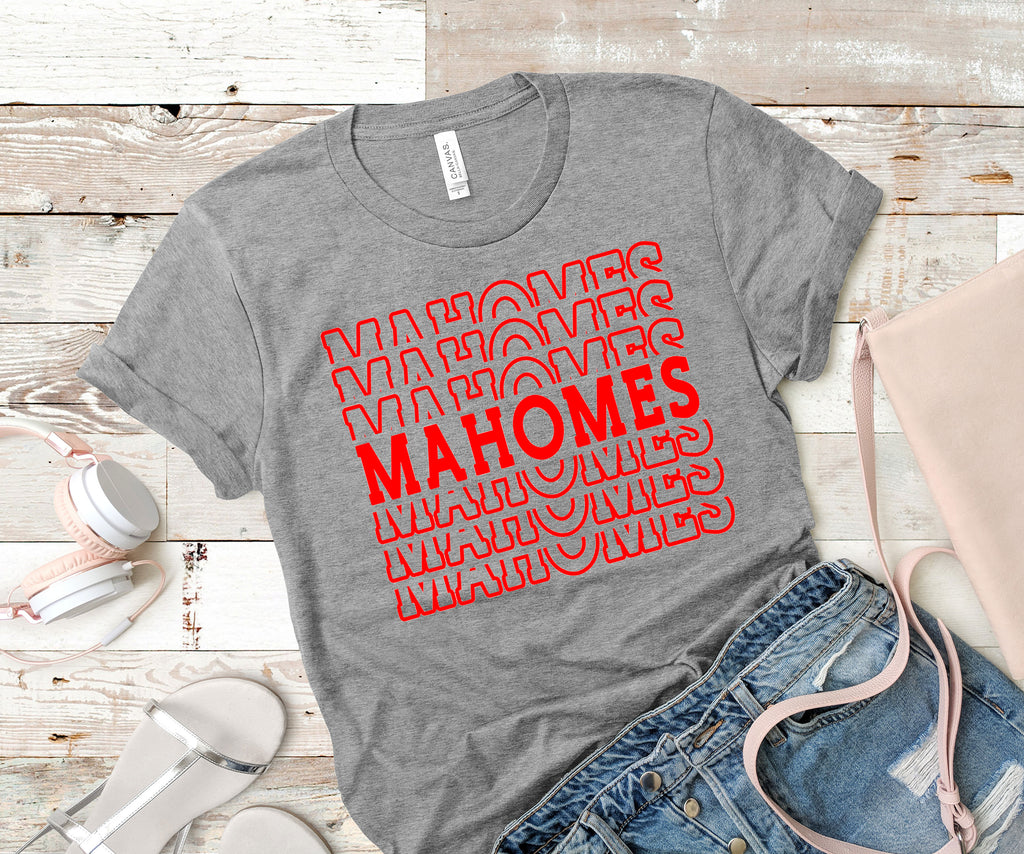 Mahomes Tee Shirt gray shirt with red