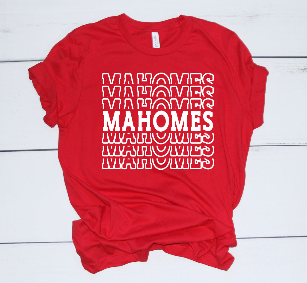Mahomes Tee Shirt red shirt with white
