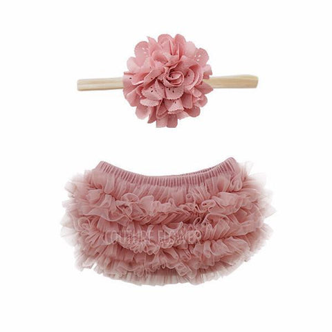 Mauve Ruffle Bottom and Headband Set